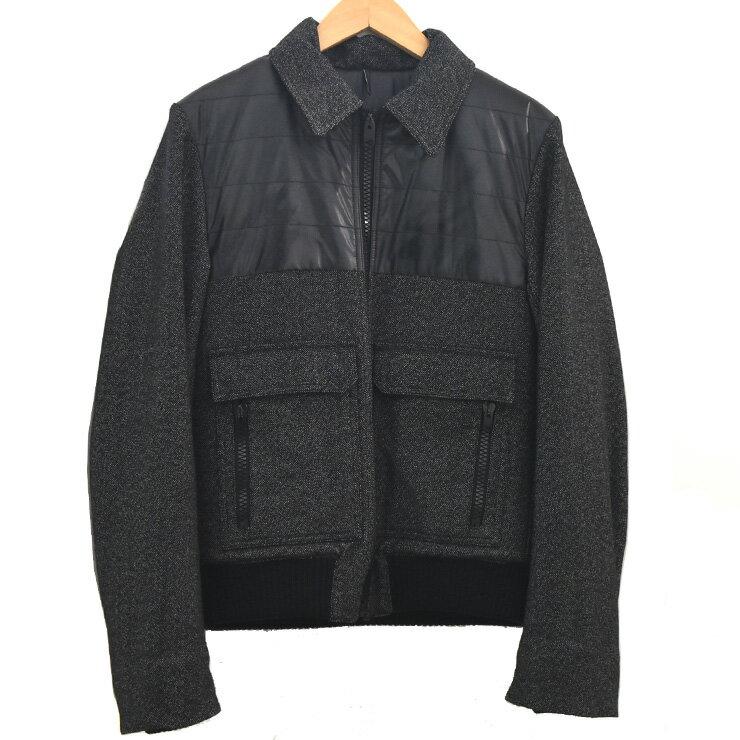 【中古】ディオールオム ブルゾン ジャケット ブラック×グレー サイズ46 DIOR HOMME [送料無料][美品]