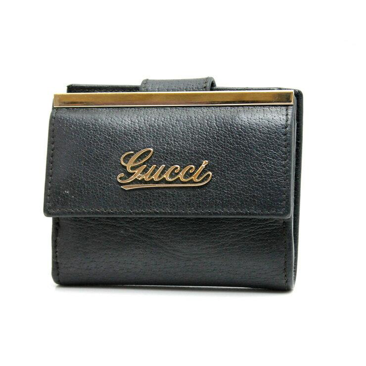 【中古】GUCCI グッチ レザー コンパクト Wホック二つ折り財布 170371 ブラック 男女兼用 【送料無料】