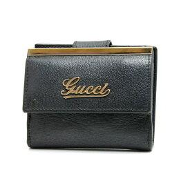 【キャッシュレス5%還元】【中古】GUCCI グッチ レザー コンパクト Wホック二つ折り財布 170371 ブラック 男女兼用