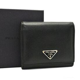 【中古】プラダ 三つ折り財布 ユニセックス レザー ブラック ▽プレート M176A PRADA [送料無料]