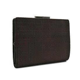 【中古】未使用品 印傳 二つ折り財布 レディース 鹿革 ブラウン×ブラック がま口 1604 印傳屋 [送料無料][美品]
