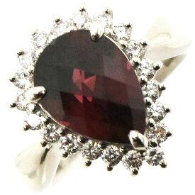【中古】リング Pt900 ガーネット3.772ct ダイヤモンド0.41ct 重量8.7g サイズ11号 レディース ジュエリー [送料無料][美品]