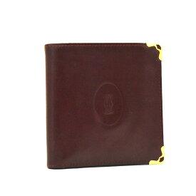 【中古】カルティエ 二つ折り財布 ユニセックス レザー ボルドー マストライン ヴィンテージ Cartier [送料無料][美品]