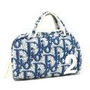 【中古】ディオール ミニハンドバッグ レディース パイル地 ブルー×ホワイト トロッター Dior [送料無料][美品]