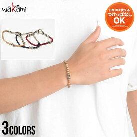 """""""wakami【ワカミ】Wire Bracelet Wax Code/全3色""""ブレスレット メンズ アクセサリー シンプル メタル 蝋 レディース ユニセックス アクセ ペアルック ワックスコード ベージュ ネイビー レッド 西海岸 サーフ系 プレゼント ギフト 夏 2021"""