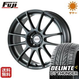 タイヤはフジ 送料無料 5ZIGEN ゴジゲン PROレーサーZ-1 8J 8.00-18 DELINTE デリンテ D7 サンダー(限定) 235/55R18 18インチ サマータイヤ ホイール4本セット