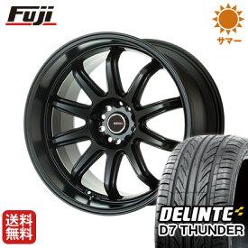 タイヤはフジ 送料無料 5ZIGEN ゴジゲン ファイヤーボールダブルアール 7J 7.00-17 DELINTE デリンテ D7 サンダー(限定) 215/55R17 17インチ サマータイヤ ホイール4本セット