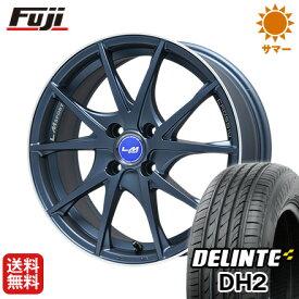 タイヤはフジ 送料無料 LEHRMEISTER LMスポーツクロス10 マットブルー 5J 5.00-15 DELINTE デリンテ DH2(限定) 165/55R15 15インチ サマータイヤ ホイール4本セット