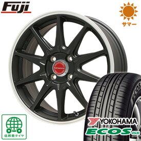 タイヤはフジ 送料無料 LEHRMEISTER レアマイスター LMスポーツRS10(マットブラックリムポリッシュ) 4.5J 4.50-14 YOKOHAMA エコス ES31 155/65R14 14インチ サマータイヤ ホイール4本セット