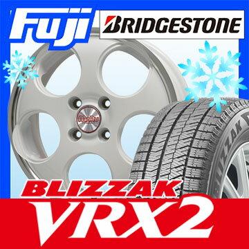 【送料無料】 BRIDGESTONE ブリヂストン ブリザック VRX2 155/65R14 14インチ スタッドレスタイヤ ホイール4本セット PREMIX プレミックス マル(ホワイト/リムポリッシュ) 4.5J 4.50-14