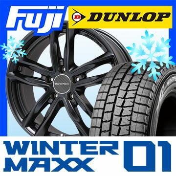 【送料無料 ボルボ(V60)】 DUNLOP ダンロップ ウィンターMAXX 01 WM01 215/55R16 16インチ スタッドレスタイヤ ホイール4本セット 輸入車 EUROTECH ユーロテック ガヤ5(マットブラック) 6.5J 6.50-16