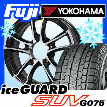 【送料無料 ジムニー】 YOKOHAMA ヨコハマ アイスガード SUV G075 175/80R16 16インチ スタッドレスタイヤ ホイール4本セット PREMIX プレミックス シャンクス(ブラックポリッシュ) 5.5J 5.50-16