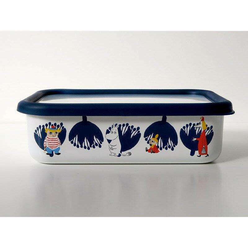 【安心のメーカー直販】保存容器 キッチン用品 ストッカー 食材 調味料 ホーロー容器 グッズ 富士ホーロー ハニーウェア キッチン雑貨 ムーミン&フラワー 浅型角容器L MOOMIN ギフト ムーミン かわいい おしゃれ シンプル ホーロー