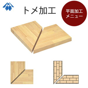 木材加工オプション【平面加工とめ加工】2枚の板を45度でカット、木口が見えないようにつなぐ加工です。大きいものはカウンター、小さなものは額縁