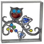 シャインガラス銅製ブロックスカシフクロウ