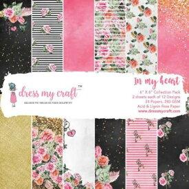 "Dress My Crafts Single-Sided Paper Pad 6""X6"" /ミニペーパーパッド in My Heart 24枚入り"