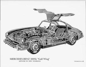 Mercedes-Benz300SLGullWing(S)1852円【KaiArtInternational構造画ポスターリトグラフデザインロールスロイスシルバーゴースト絵アート吉川信カイアートコレクション】