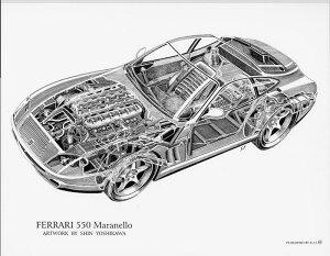 Ferrari550Maranello(S)1852円KaiArtInternational構造画ポスターリトグラフデザインフェラーリマラネロエンツォ絵アート吉川信カイアートコレクション
