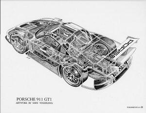 Porsche911GT1(S)1852円【KaiArtInternational構造画ポスターリトグラフデザインポルシェレーシング絵アート吉川信カイアートコレクション】