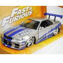 FAST AND FURIOUS BRIAN'S NISSAN Skyline GT-R R34 Silver 1/24 JADA 3612円【ワイルド スピー...
