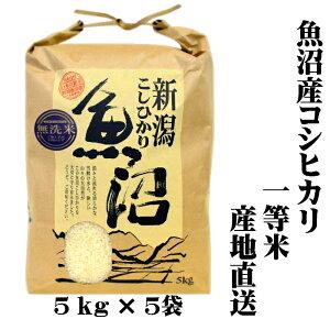 『新米 一等米』 令和2年産 新潟 魚沼産 コシヒカリ 5kg×5 25kg(25キロ) 魚沼産コシヒカリ 魚沼産こしひかり 魚沼コシヒカリ 無洗米 美味しい お米 おいしいお米 美味しい米 おいしい米 ご当地