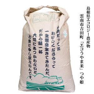 令和2年産 島根県雲南市吉田町「エコうやま米」つや姫30kg玄米原袋 島根県エコロジー農産物(農薬・化学肥料5割以下)送料無料