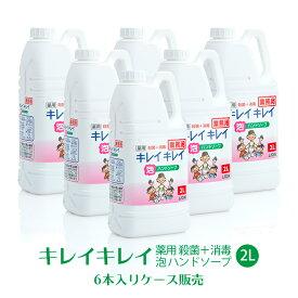 ライオン キレイキレイ 薬用 泡ハンドソープ 2L×6本(ケース) 【業務用】【送料無料】