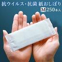 FSX 紙おしぼり 抗ウイルス抗菌 平型 SILKY シルキー Mサイズ 1パック 250本 不織布 レギュラー 業務用 送料無料