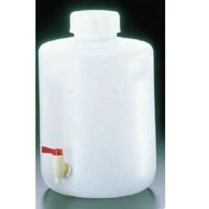 給水タンク 飲料水用ポリタンク 丸型(20L) PE 広口下口 活栓付瓶 ETV-01 2097