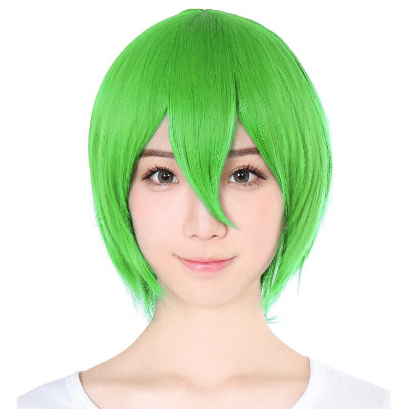 ウィッグ ショート ボブ フルウィッグ コスプレ ウイッグ ショート フルウイッグ グリーン 緑髪 つむじ ふかし 加工 耐熱 かつら うぃっぐ ゆったり 大きい 男装 仮装 変装 文化祭 学園祭 余興 富士達 ふじたつ ショート アップルグリーン