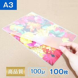 ラミネートフィルム A3サイズ 100ミクロン (100枚入り) 光沢タイプ 303×426mm ラミネーターフィルム