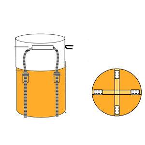 フジテックス フレコンバックフレキシブルコンテナバッグ Aタイプ バージン材 (100枚入り) 投入口全開 排出口なし 耐荷重1t 反転ベルトなし UVあり 大型土のう袋 土嚢袋 トンバッグ トン