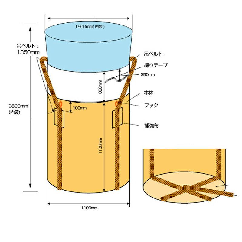 フレコンバッグ フレキシブルコンテナバッグ アスベスト用内袋付き (10枚入り) 内袋厚み0.15mm 耐荷重約1t 丸型 直径1100×1100mm 大型土のう袋・トンバッグ