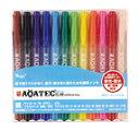 【寺西化学】水性顔料マジック アクアテックスリムAQATEC SLIM 12色セット  細・極細書き両用【1セットまでメール便可】