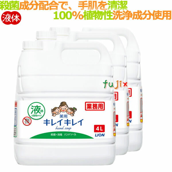 ライオン キレイキレイ薬用ハンドソープ(詰替用)4L×3本/ケース