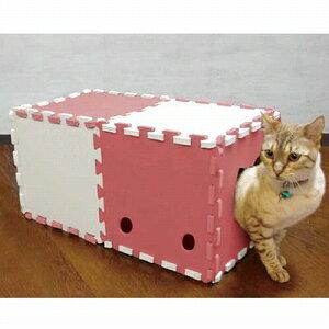 明和グラビア 猫用おもちゃ 組み立て式 ねこトンネル NT-02 アイボリー×ピンク 10枚入り【代引不可】