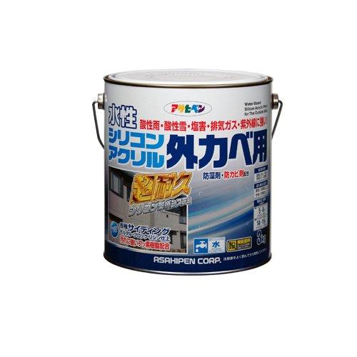 アサヒペン 水性シリコンアクリル外カベ用 アイボリー 3kg