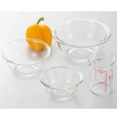 [P]イワキ 耐熱ガラス 食器 ボウル3点&メジャーカップセット PS-BO-3B1M【代引不可】
