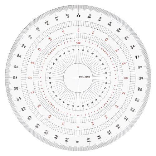 (まとめ買い)岡本製図器械 全円分度器 18cm BO-18 (39-2018) 00003347 〔3枚セット〕