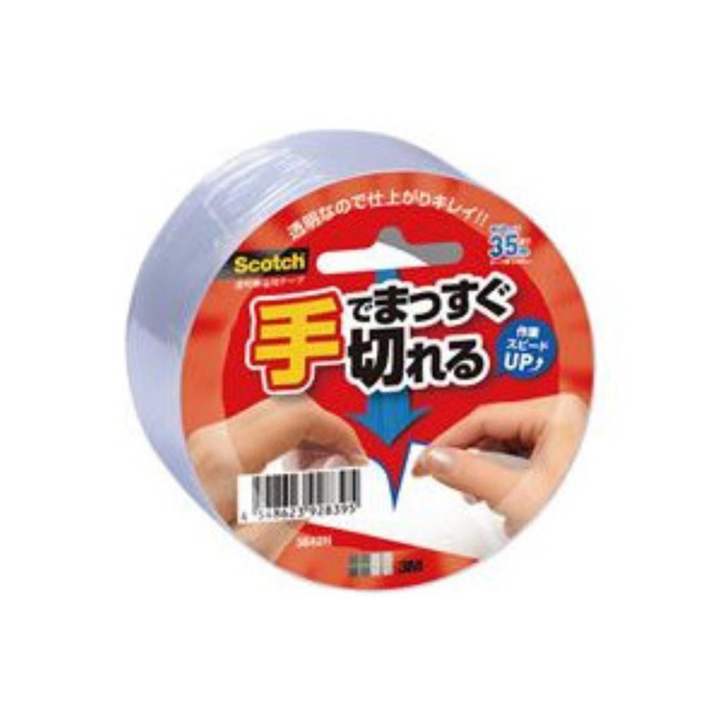(まとめ買い)スリーエム 手で切れる透明梱包用テープ 3842K 00203480 〔5巻セット〕