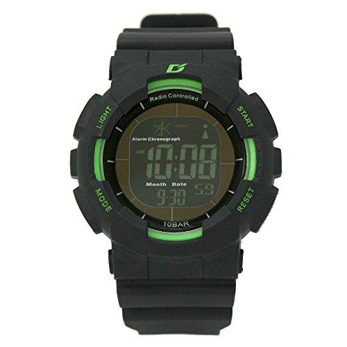 [ダッシュ]Dash 腕時計 DASH Professional 電波ソーラー ブラック液晶ムーブ 10気圧防水 ブラック×グリーン ADWW15039RCSOL2 メンズ