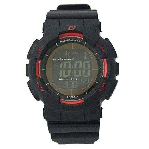 [ダッシュ]Dash 腕時計 DASH Professional 電波ソーラー ブラック液晶ムーブ 10気圧防水 ブラック×レッド ADWW15039RCSOL3 メンズ