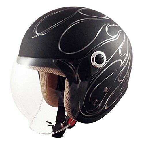 TNK工業 スピードピット ジェット型ヘルメット GS-6 マッドブラック/ガンメタ/ファイヤー サイズ:LADY'S FREE(57-58cm未満) 5...【代引不可】