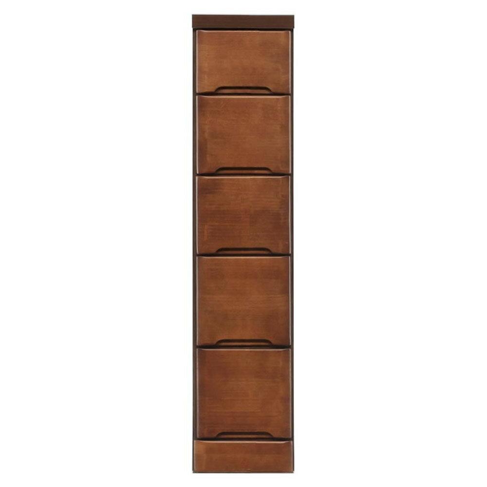 【送料無料】クライン サイズが豊富なすきま収納チェスト ブラウン色 5段 幅22.5cm【代引不可】