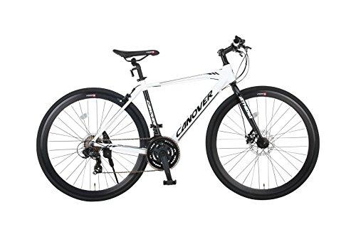 【送料無料】カノーバー クロスバイク 700C シマノ21段変速 CAC-027-DC (ATENA) フロントディスクブレーキ アルミフレーム フロントLEDライト付 ホワイト【代引不可】