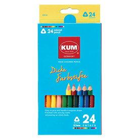 (まとめ買い)レイメイ藤井 KUM 太軸色鉛筆24色 KM164 〔×3〕