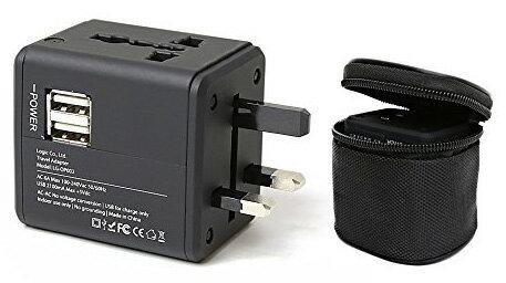 ロジック 海外用コンセントアダプター USB2ポート付き コンセント+U 変換プラグ LG-OP002