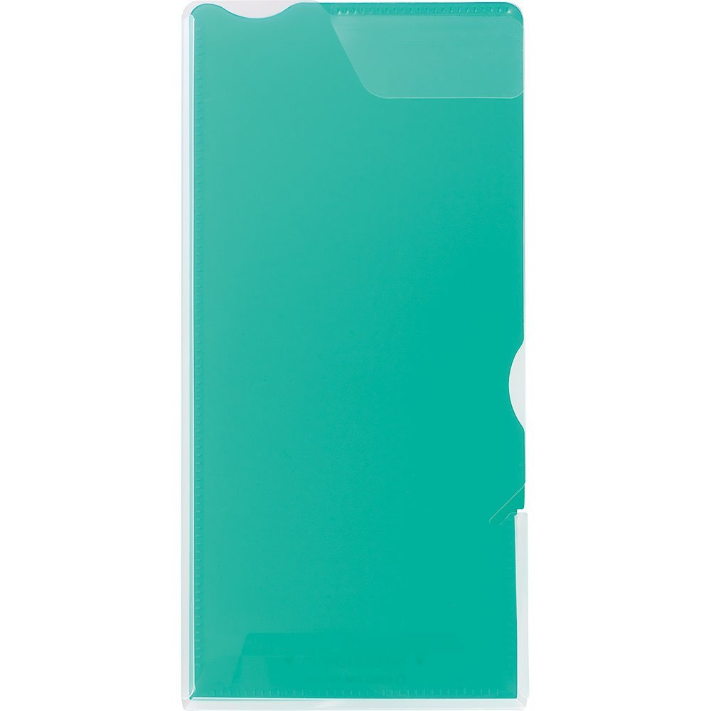 (まとめ買い)キングジム クリアーホルダー スーパーハードホルダー A4・1/3透明 (マチ付) 緑 728Tミト 〔10枚セット〕
