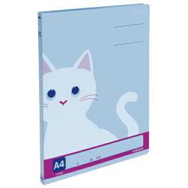 (まとめ買い)キョクトウ カレッジアニマル フラットファイル A4 ネコ ロイヤルブルー JH28 〔10冊セット〕