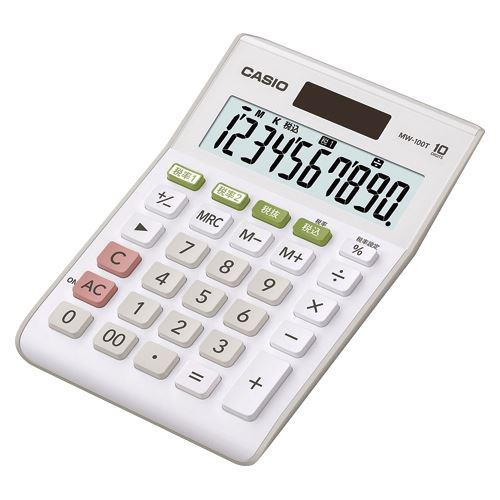 カシオ ミニジャスト電卓10桁 W税率対応 MW-100T-WE-N 00020620